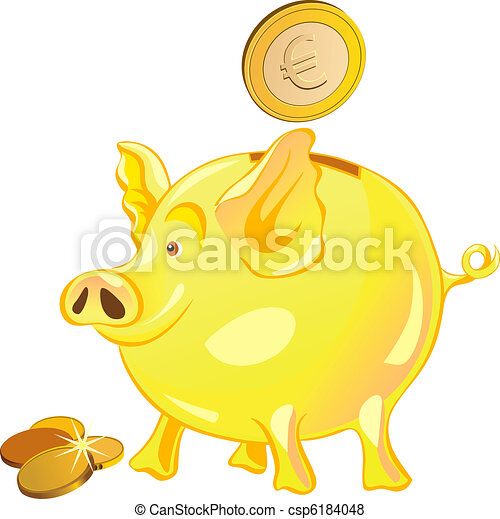vector pig-piggy bank with gold coins - csp6184048
