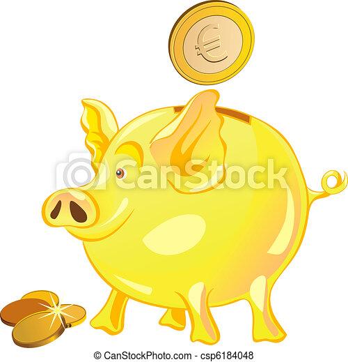vector pig-piggy bank with gold coins - csp6184048