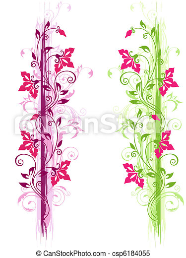 green and violet floral ornament - csp6184055