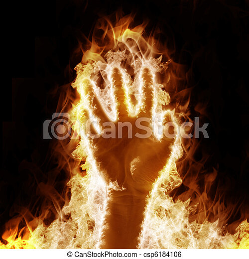 Stock Illustration Of Human Hand Open Arms Fire On A Black
