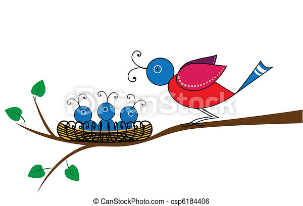 bird and nestlings - csp6184406