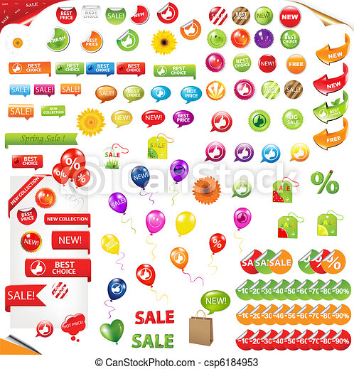 Big Collection Of Sale Elements - csp6184953