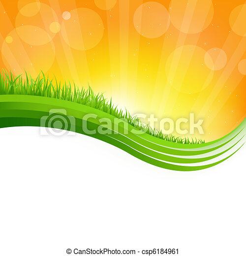 Shiny Background With Green Grass - csp6184961