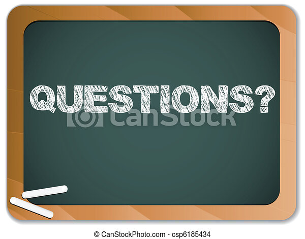 Blackboard with Questions Message written with Chalk - csp6185434