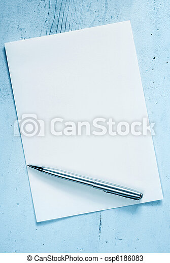 Blank Notepaper with Pen - csp6186083