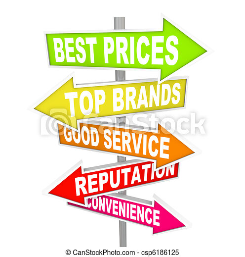 Store Advertisements on Arrow Signs - Unique Selling Points - csp6186125