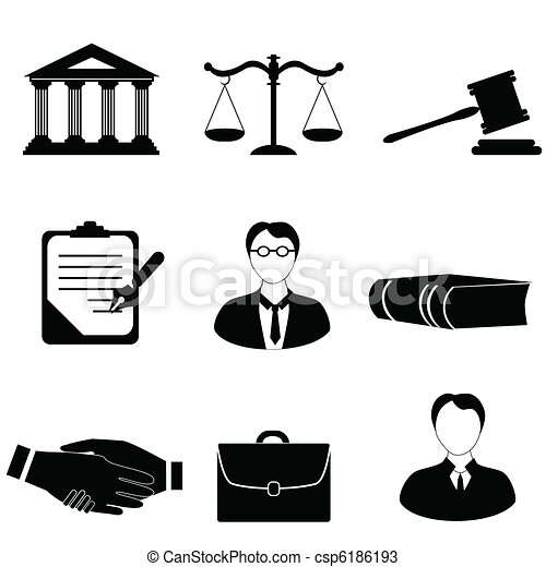 Justice, legal and law icons - csp6186193