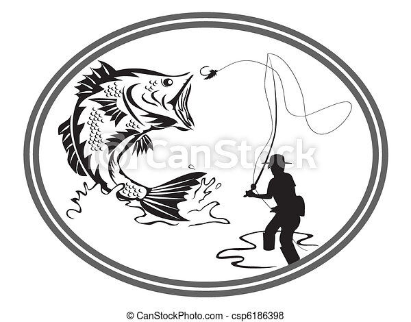 fishing bass emblem - csp6186398