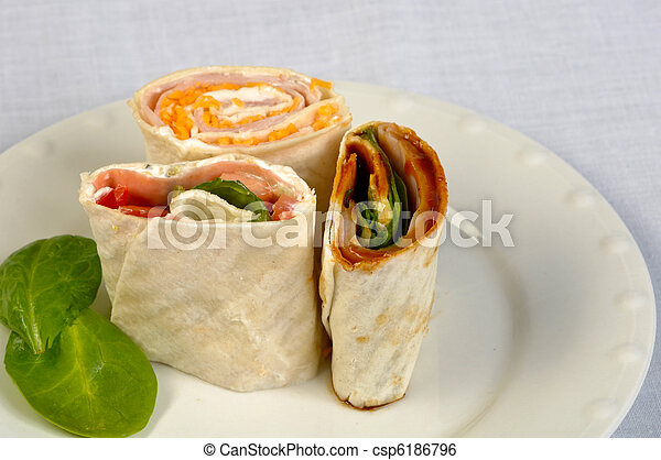 Fresh veggie wraps on a plate - csp6186796
