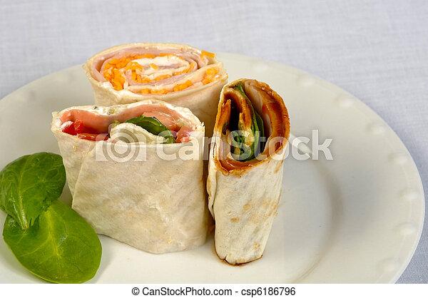 Fresh veggie wraps on a plate - csp6186796