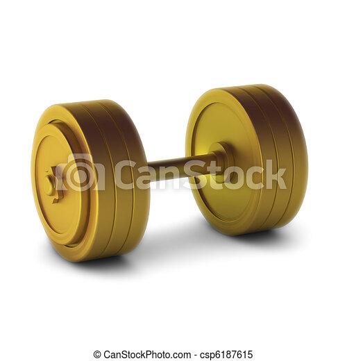3d render of gold dumbbell - csp6187615