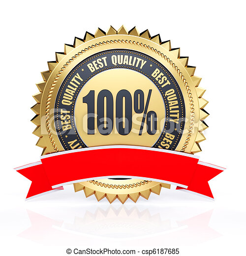 3d best quality golden label with red ribbon isolated on white - csp6187685