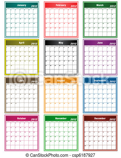 Calendar 2012 assorted colors - csp6187927