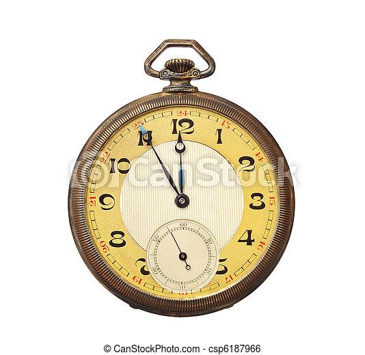 anticaglia, ritaglio, vecchio, orologio, isolato, tasca, fondo,  included, percorso, bianco - csp6187966