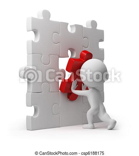 insertar, gente, rompecabezas,  -, pequeño,  3D - csp6188175