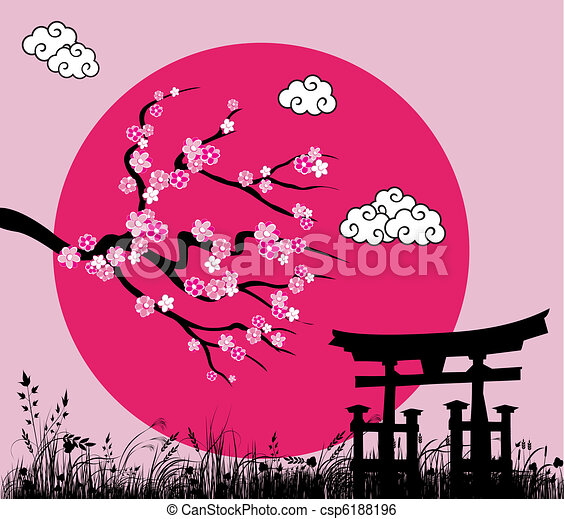 Japanese sakura blossom and tori gate -vector illustration - csp6188196