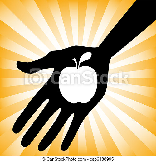 how to draw a hand holding an apple