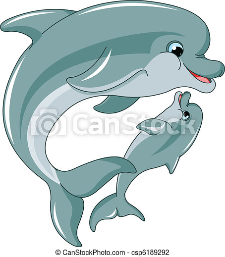 Dolphin mother and baby - csp6189292