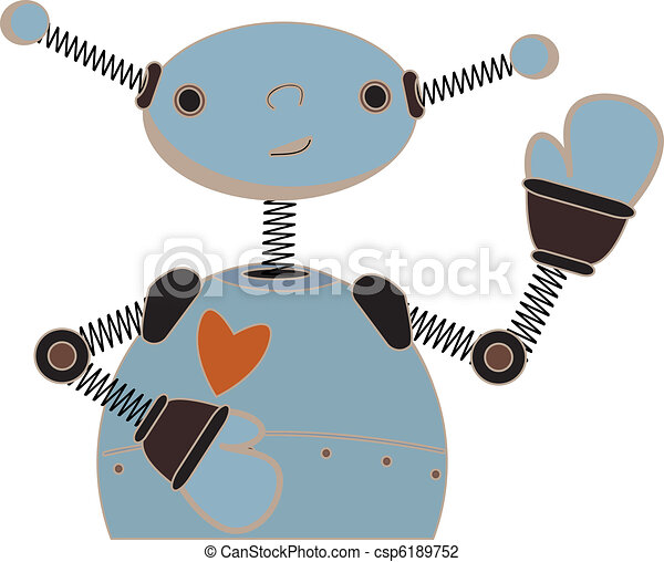 Cute blue robot waving cartoon - csp6189752