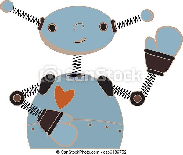 Cute blue robot waving cartoon - csp6189752