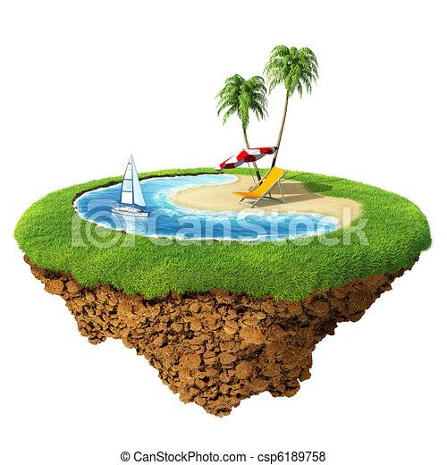Personal resort on little planet. Concept for travel, holiday, hotel, spa, resort design. Tiny island / planet collection. - csp6189758