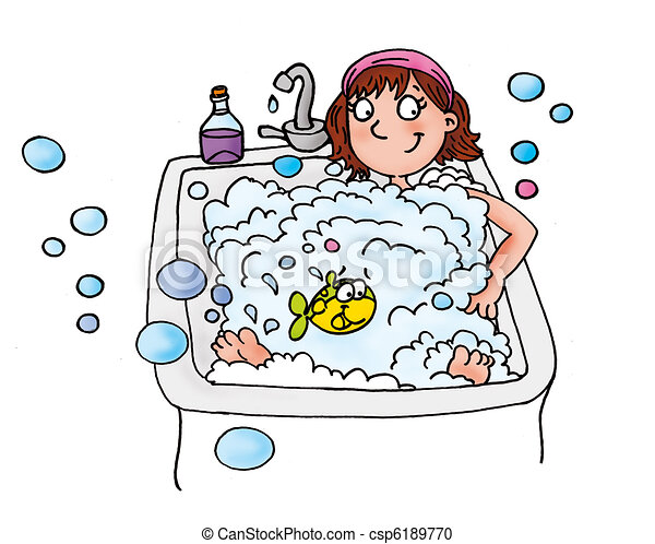 Stock illustration of girl in bathtub wash csp6189770 - Dessin se laver ...
