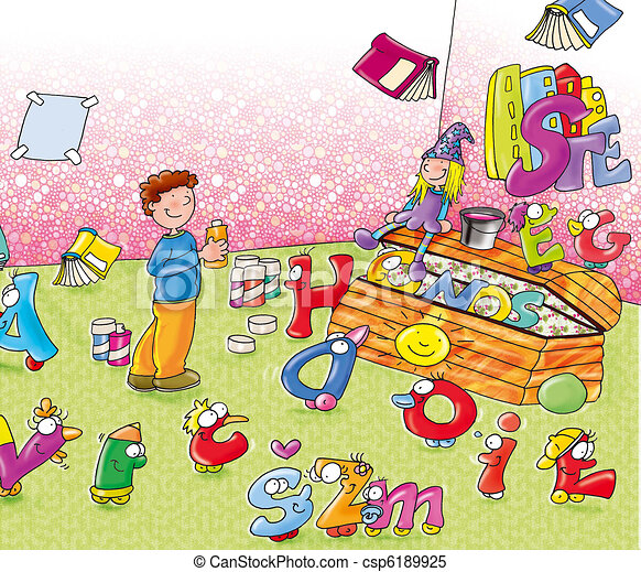 chest in bedroom  toys  animated letters. Stock Illustrations of chest in bedroom  toys  animated letters