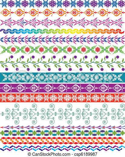 vector colorful decorative borders - csp6189987