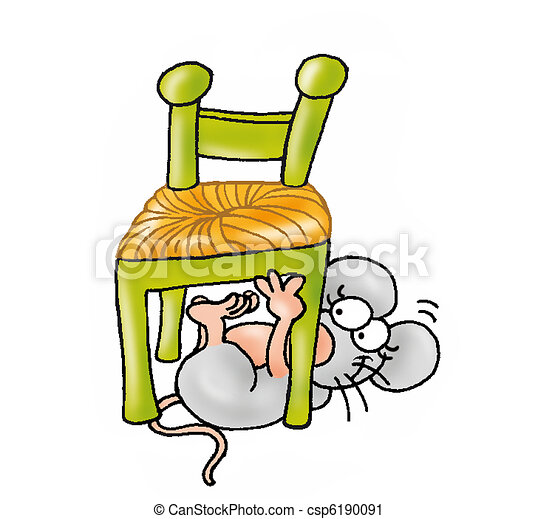 Cat Under The Chair Clipart Black And White