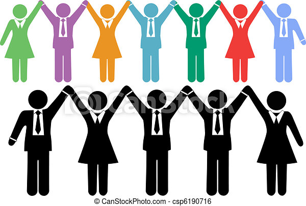 Business people symbols holding hands celebrate - csp6190716