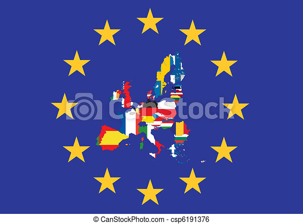 European flag with country flags - csp6191376