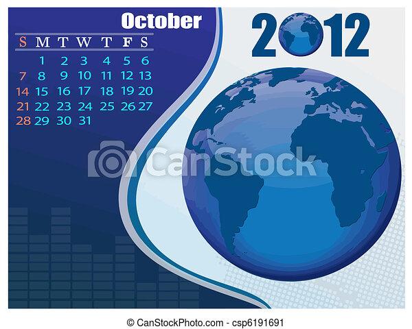 October Bussines Calendar. - csp6191691