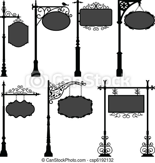 桿, 街道,  Signage, 框架, 簽署 - csp6192132