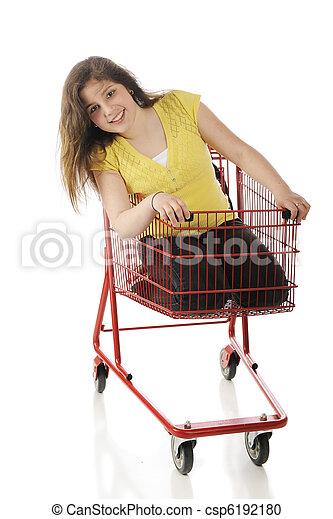 un, atractivo, preteen, equitación, brillante, rojo, compras, carrito ...