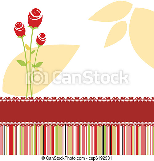 Invitation card with red rose flower - csp6192331