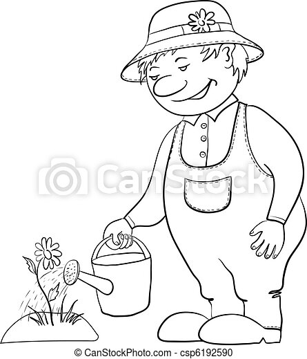 Gardener waters a flower, contour - csp6192590