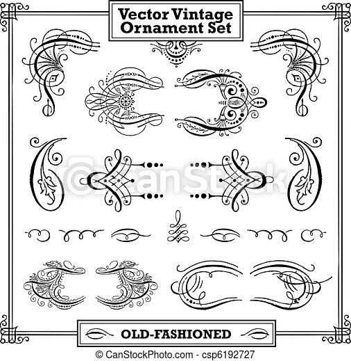 Vector Vintage Ornament Set - csp6192727