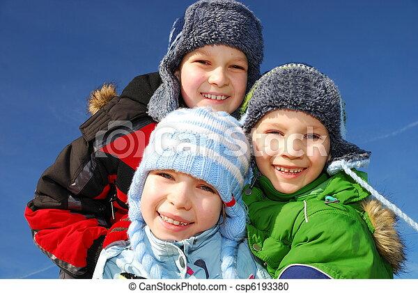 Siblings in winter - csp6193380