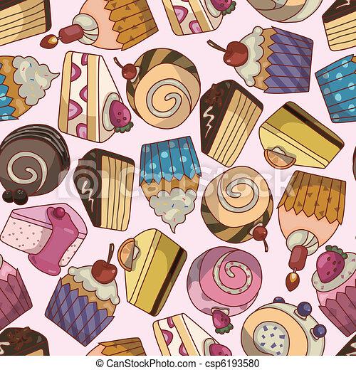 seamless cartoon cake pattern - csp6193580