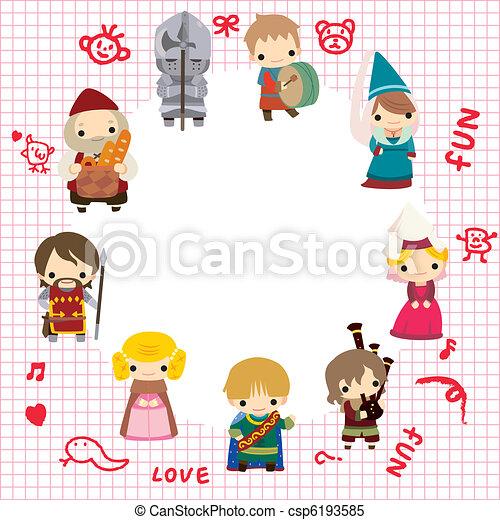 cartoon Medieval people card - csp6193585