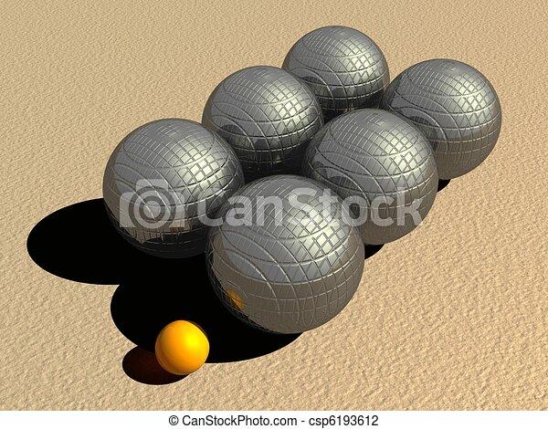 Clip Art of Petanque game balls - Six big metallic petanque balls ...