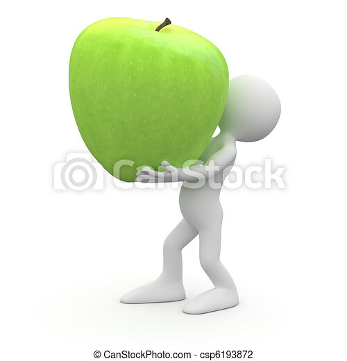 Man carrying a huge green apple - csp6193872