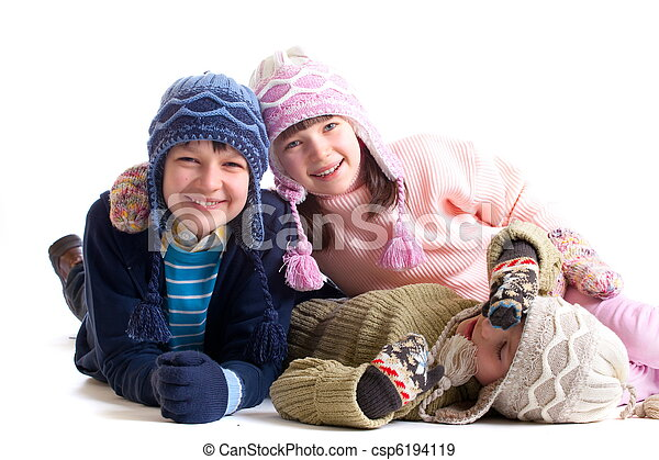 Children in winter clothes - csp6194119