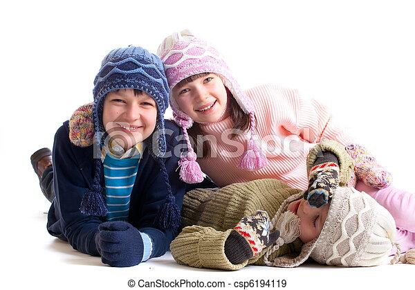 crianças, Inverno, roupas - csp6194119