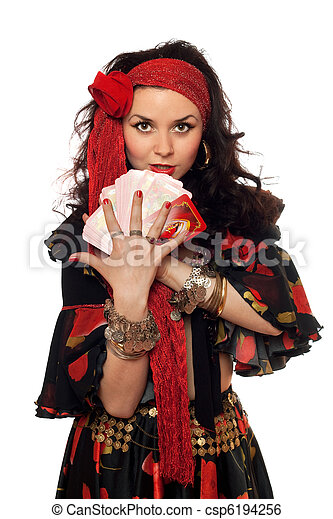 Portrait of gypsy woman with cards - csp6194256