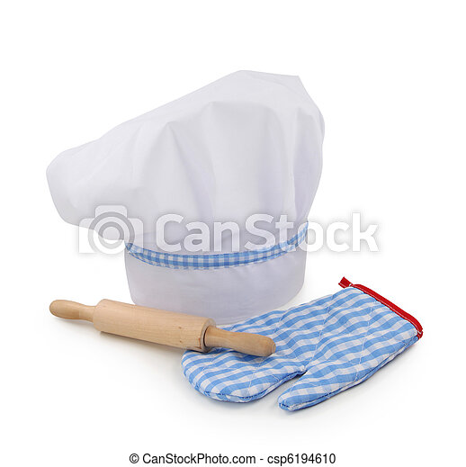 Chef hat, rolling pin and glove - csp6194610