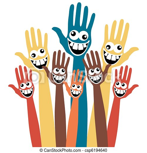 Crazy face hands.  - csp6194640