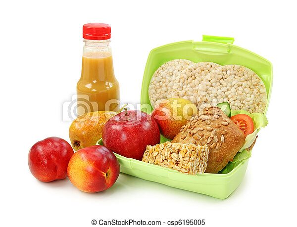 Lunch box with sandwich and fruits - csp6195005