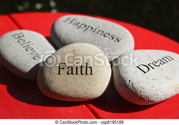 Inspirational Words Carved on Rock - csp6195188