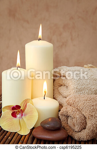 Spa with white candles - csp6195225